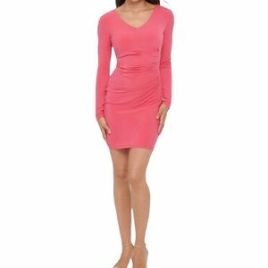 Guess Pink Bodycon Mini Dress with Side Ruching